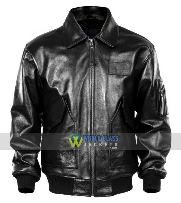 Men Black USAF Pilot Leather Jacket