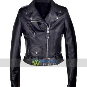 Ladies Cropped Perfecto Black Leather Jacket Sale