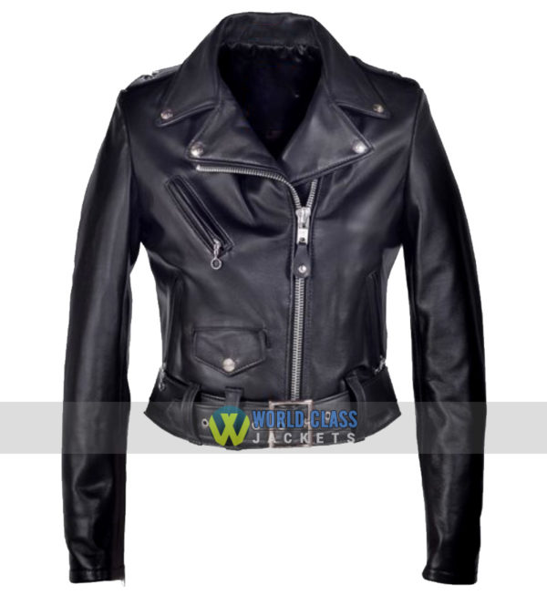Ladies Cropped Perfecto Black Leather Jacket Sale