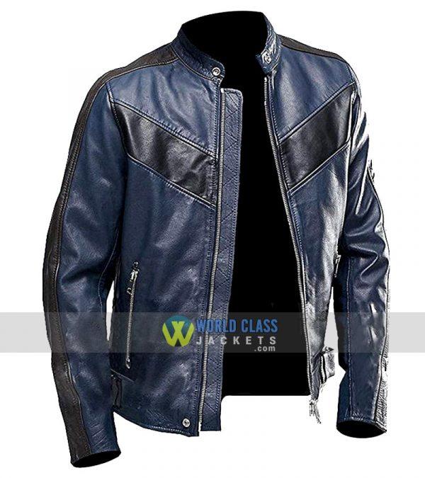Buy Vintage Blue Cafe Racer Leather Jacket