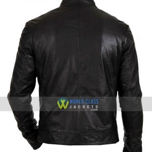 $96 OFF Men's Biker Hunt Black Leather Jacket Sale