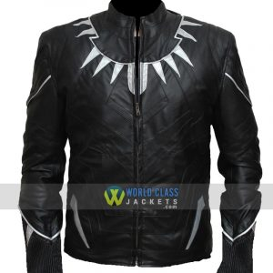 Black Panther Chadwick Boseman's Black Leather Jacket