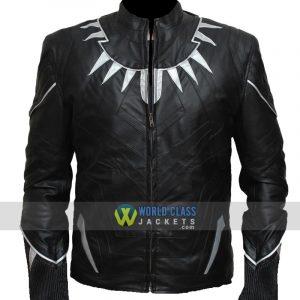 Black Panther Chadwick Boseman's Black Leather Jacket