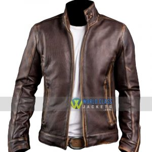 Buy Gents Biker Café Racer Vintage Distressed Brown Original Leather Jacket
