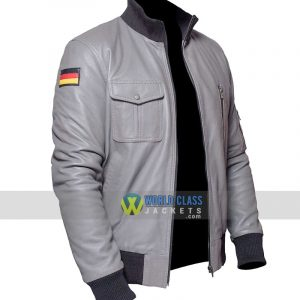$40 Off - German Flag Grey Leather Pilots Flight Jacket Flying Jacket