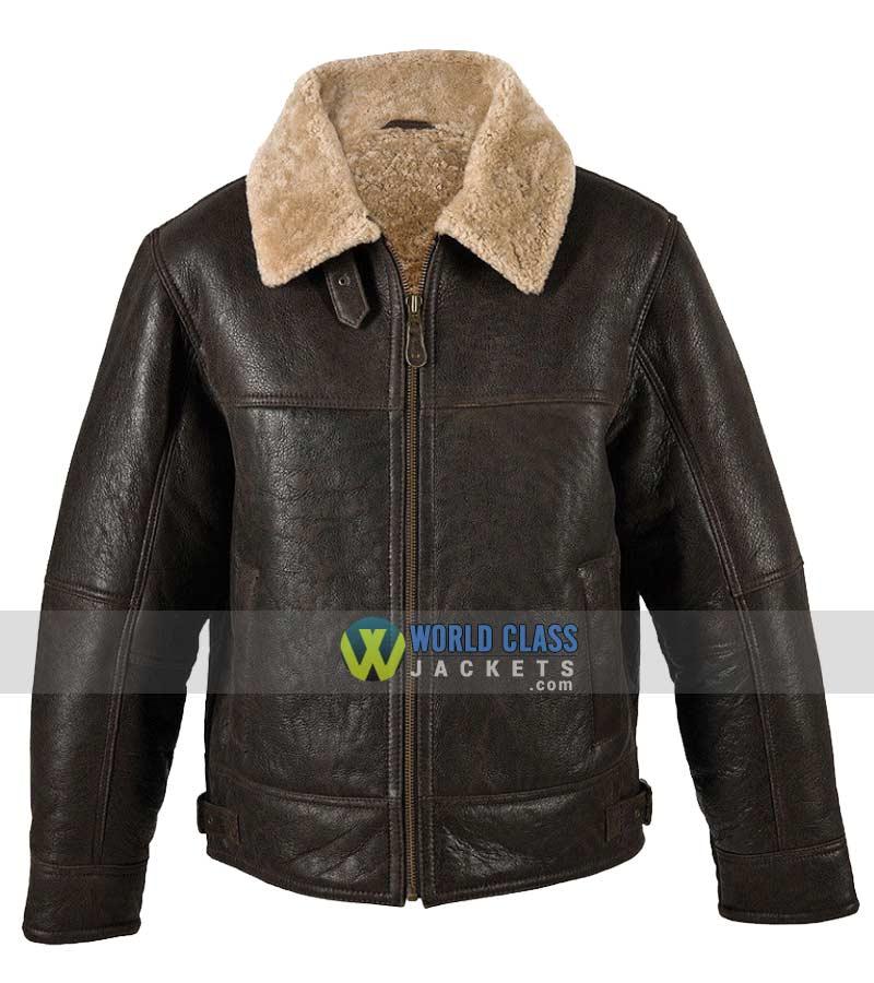 Mens Aviator RAF B3 Sheepskin Fur Shearling Bomber Flying Brown Leather Jacket