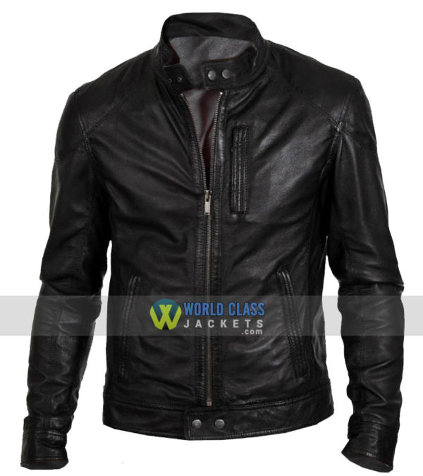 Buy Men's Biker Hunt Black Motorcycle Real Leather Jacket