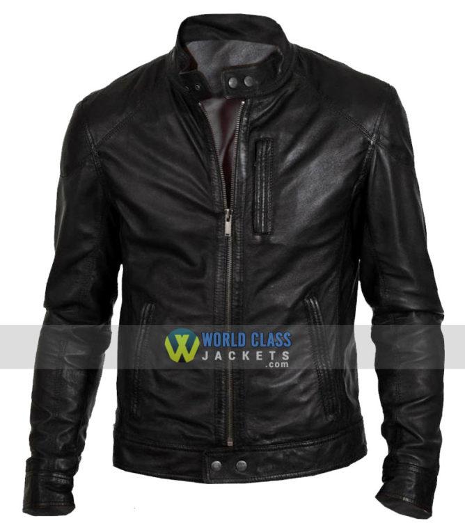 Buy Men's Biker Hunt Black Motorcycle Real Leather Jacket