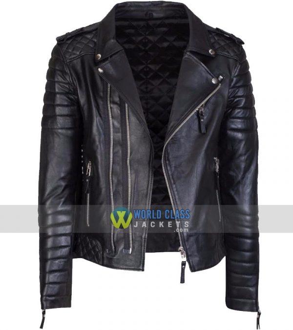 Mens Original Black Leather Jacket Slim Fit Real Biker New Vintage