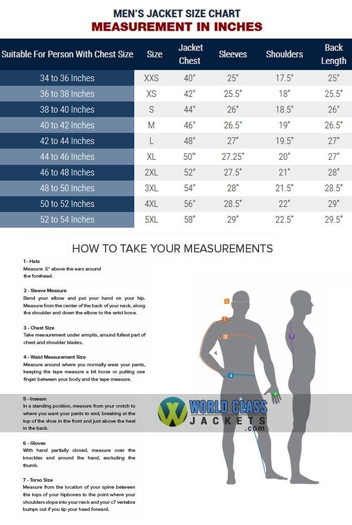 World Class Jackets Men's Size Chart Guide
