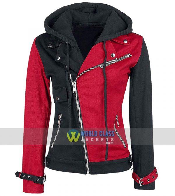 Psychotic Harley Quinn Womens Red & Black Biker Faux Leather Hoodie Jacket