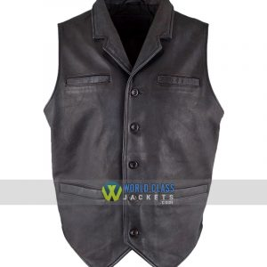 Buy at $40 Off- Ryan Michael Black Real Leather Old West Retro Vest