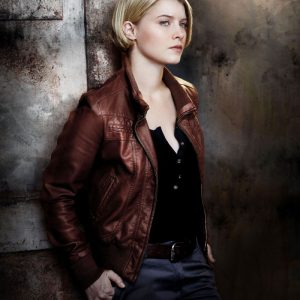 Sarah Jones Alcatraz Detective Rebecca Madsen Brown Leather Jacket