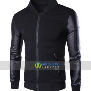 Slim Fit Men's Single Breasted Baseball Jacket with PU Sleeve Black