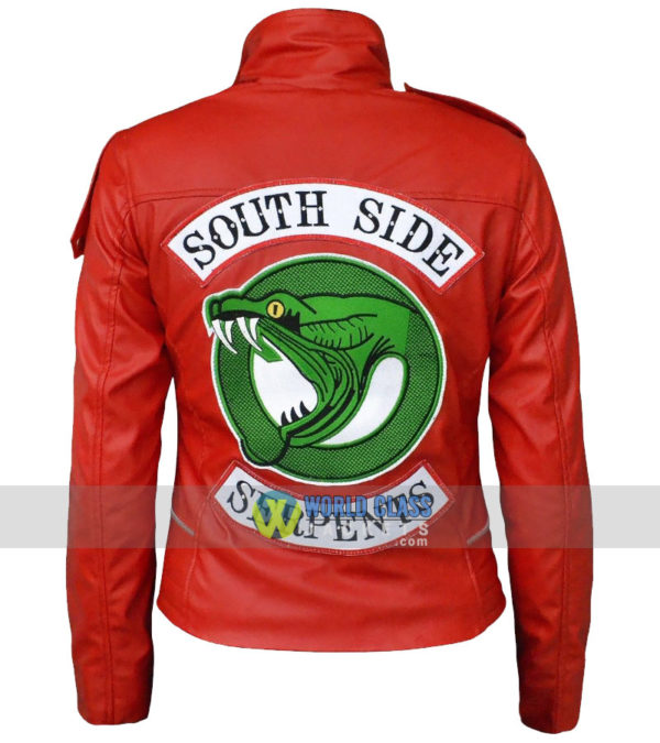 Madelaine Petsch Southside Serpents Riverdale Red Ladies Leather Biker Jacket