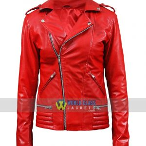 Riverdale Red Ladies Biker Leather Jacket Cheryl Blossom