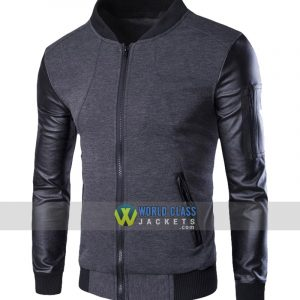 Stand Collar Single Breasted Slim Fit Men's Baseball Jacket Grey