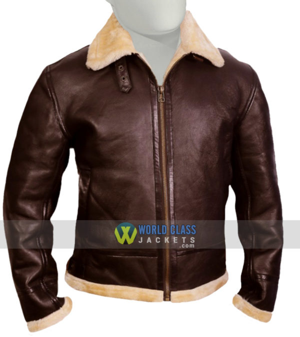 Tom Hardy Dunkirk Farrier Shearling Collar Leather Jacket