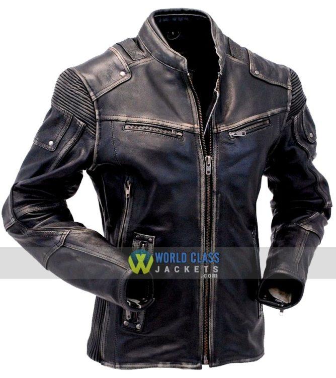 Buy Vintage Cafe Racer Distressed Genuine Leather Jacket