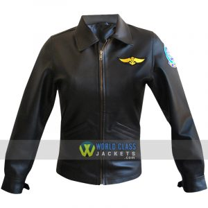 Women Kelly Mc Gillis Charlie Bomber Black Pilot Aviator Leather Jacket Top Gun