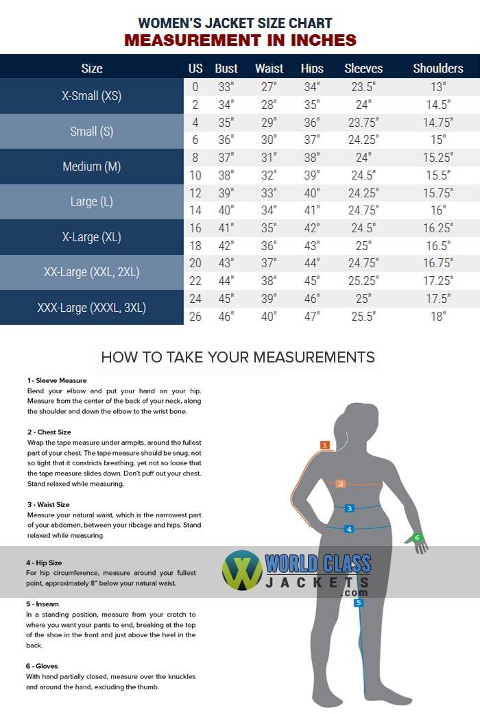 World Class Jackets Women's Size Chart Guide