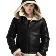 B-3 Bomber WW-2 Black Genuine Sheepskin Fur Flight Leather Hoodie Jacket Buy Online