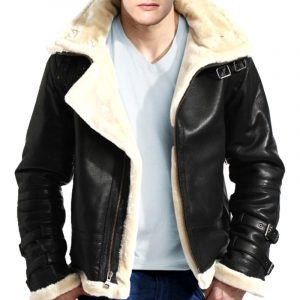 B-3 Bomber WWII Black Original Sheepskin Fur Flight Leather Jacket