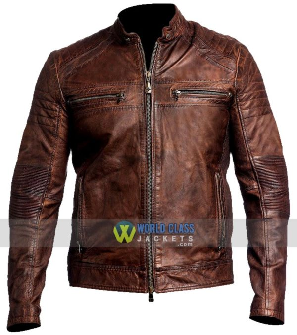 d93abd432 Cafe Racer Vintage Men's Waxed Distressed Brown Leather Jacket