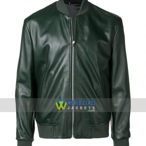 Paul Smith Green Bomber Leather Jacket