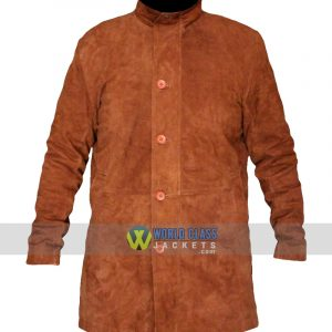 Buy Robert Taylor Sheriff Walt Longmire Brown Suede Leather Coat Online