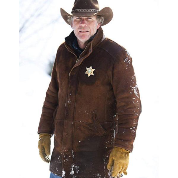 Robert Taylor Sheriff Walt Longmire Brown Suede Leather Coat