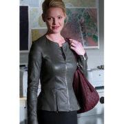 State of Affairs Katherine Heigl Charleston Tucker Grey Leather Jacket Sale