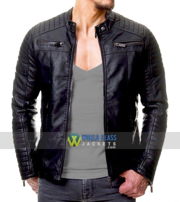 Vintage Leather Jacket >> Men S Vintage Cafe Racer Black Slim Fit Real Biker Leather Jacket
