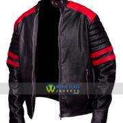 Brad Pitt Fight Club Black And Red Biker Leather Jacket