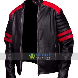 Brad Pitt Fight Club Black And Red Biker Leather Jacket