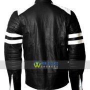 Brad Pitt Fight Club Tyler Durden Black and White Biker Leather Jacket