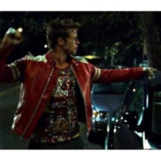 Brad Pitt Fight Club Tyler Durden Red And White Leather Jacket