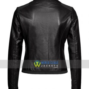 Collarless Womens Casual Wear Black Leather Jacket