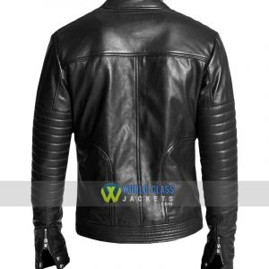 Double Zipper Men Black Biker Rib Quilted Leather Jacket