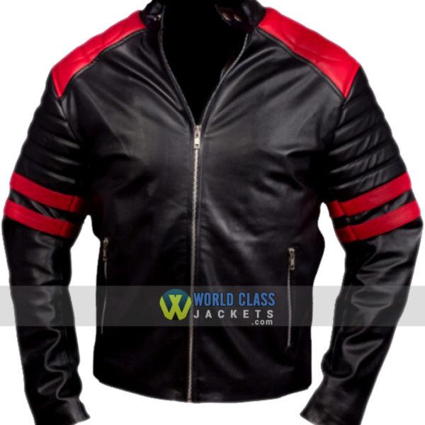 Fight Club Brad Pitt Black and Red Biker Leather Jacket