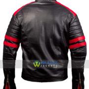 Fight Club Movie Brad Pitt Black and Red Biker Leather Jacket