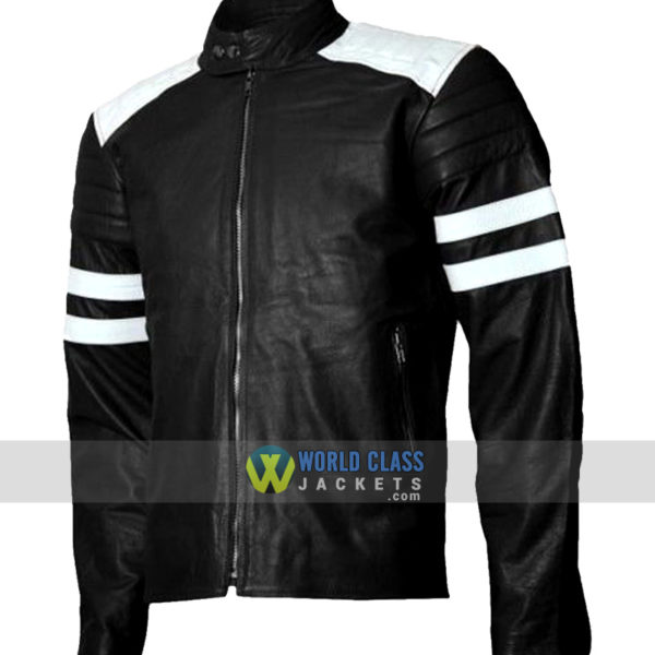 Fight Club Movie Brad Pitt Black and White Biker Leather Jacket
