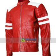 Fight Club Movie Brad Pitt Red and White Biker Leather Jacket