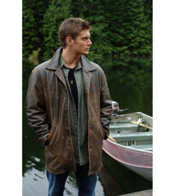12a1e1f19 Dean Winchester Supernatural Distressed Brown Long Leather Coat