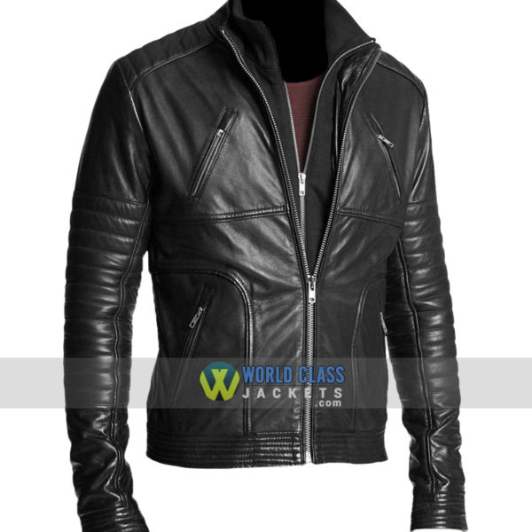Men Black Double Zipper Biker Rib Quilted Leather Jacket