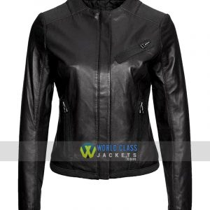 Womens Casual Wear Collarless Black Leather Jacket