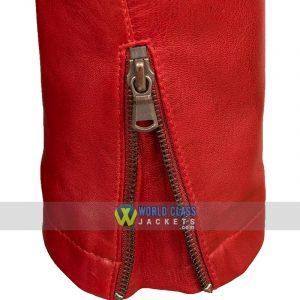 Womens Red Leather Biker Jacket Zip Cuff Detail