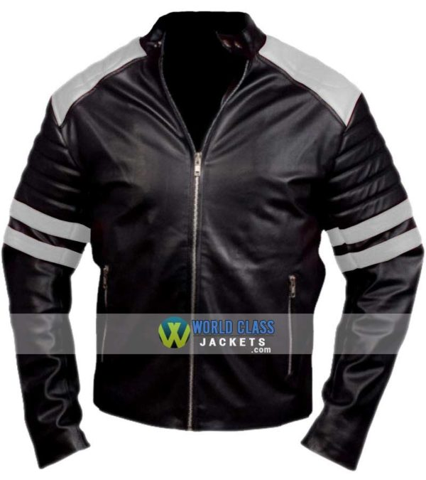 Buy Tyler Durden Black & White Leather Jacket