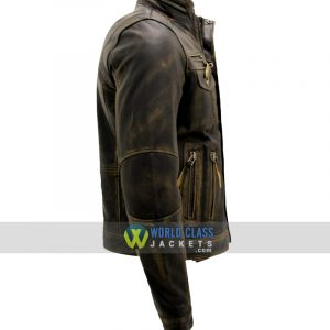 Biker Style Cafe Racer Distressed Metal Brown Leather Jacket