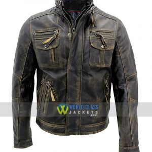 Biker Style Motorcycle Cafe Racer Distressed Metal Brown Leather Jacket